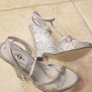Glitter platform shoes wedges